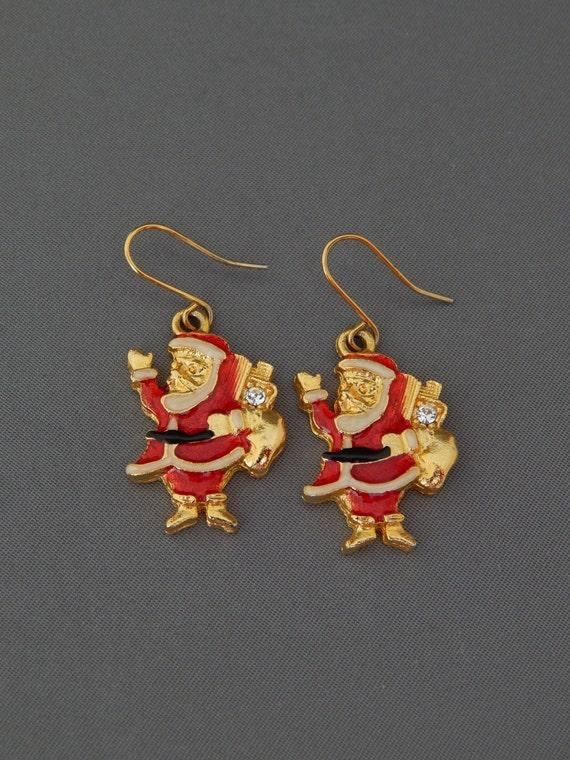 Vintage Santa Earrings, Enamel Rhinestone Santa Ea