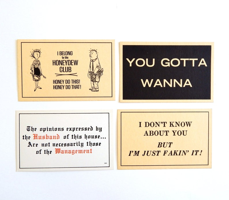 Husband Humor Vintage Lot of 4 Comic Postcards Humor Funny Messages Honey Do Faking It Cartoon Comic Postcards Collection Ephemera