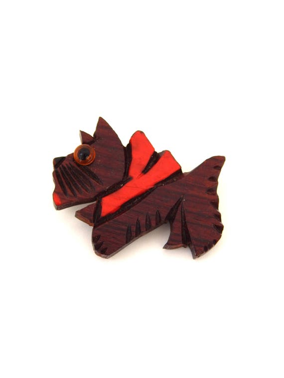 Scottie Dog Pin Carved Wood Lucite, Scottie Brooch