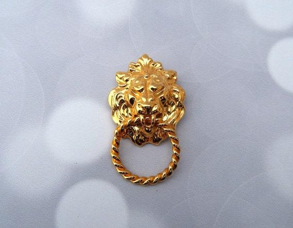 ANNE KLEIN Lion's Head Brooch Doorknocker Style Pi