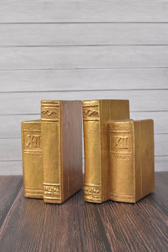 Vintage Gold Old Books Bookends Fake Books Bookends Hollywood Regency Home Library Decor Book Lover Gift
