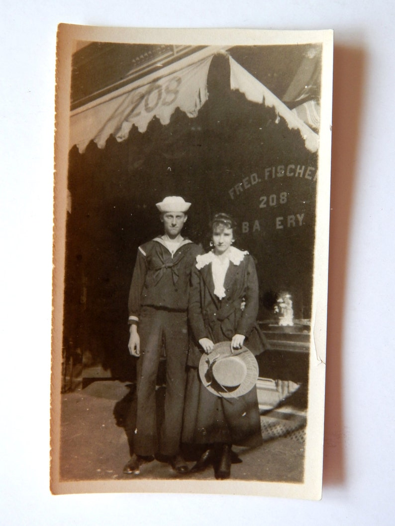 Vintage Photo 1910/'s Sailor and Sweetheart Fischer Bakery Vernacular Vintage Photo Edwardian Photo Sailor and Lady
