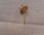 Real 14K Gold and Diamond Butterfly Stick Pin - Butterfly Jewelry - Gift for Her