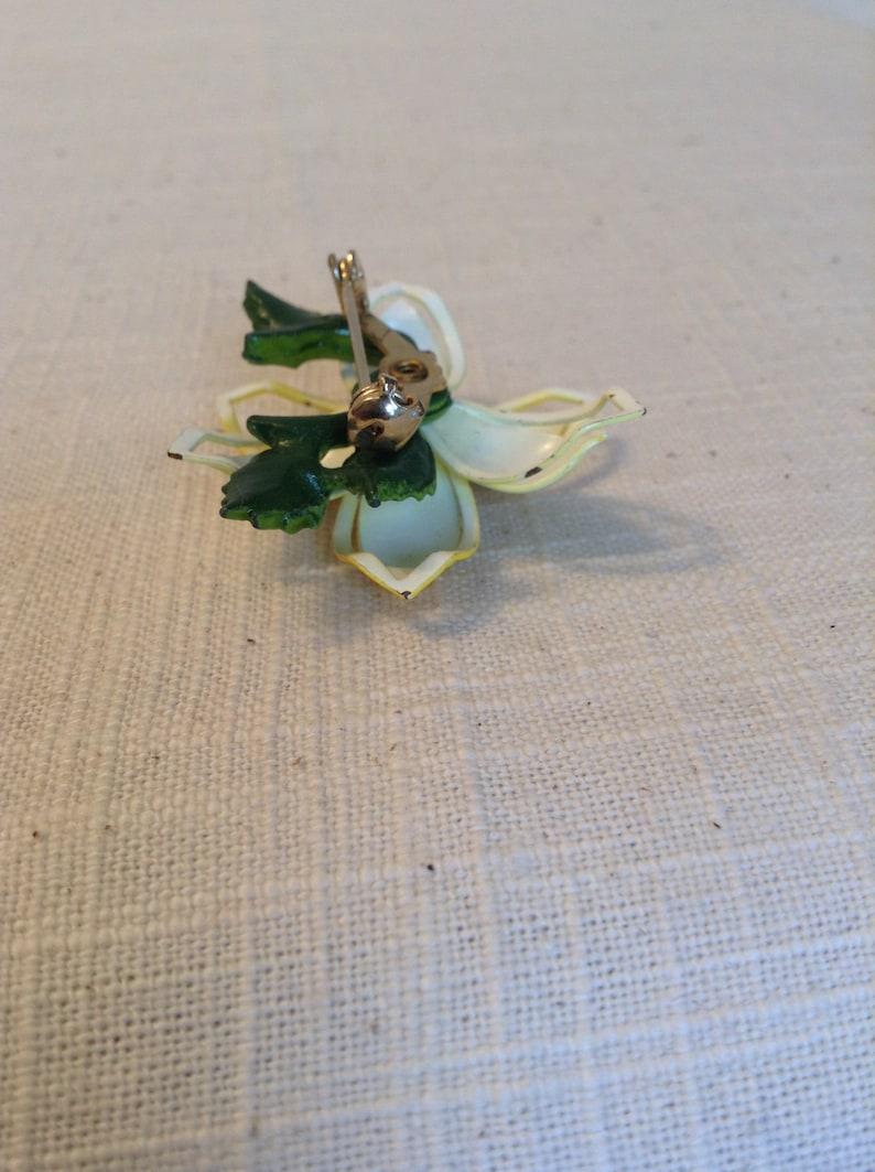Gift for Her Enamel Jewelry Vintage Yellow Enamel Flower Brooch Pin