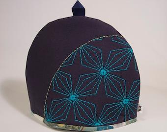 Tea Cozy - Sashiko Embroidered, Geometric Floral Pattern