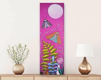 Journey to Awakening | Yoga Art | Chakra Art | Moon art | Moth art | Bold | Pop art