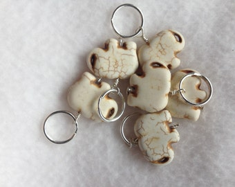 White Elephant Stitch Markers - Set of 6