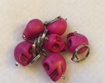 Pink Skull Stitch Markers - Set of 6