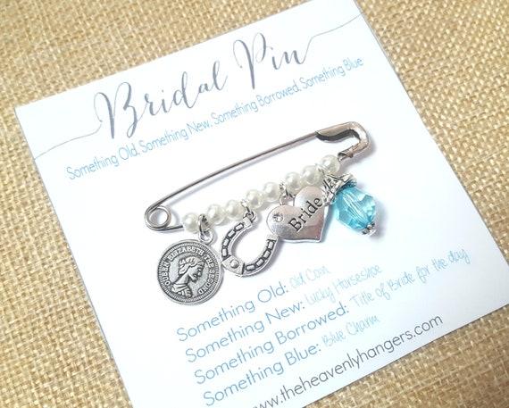 Bridal Charm Pin Something Old New Borrowed And Blue Lucky Charm Bridal Bouquet Charm Something Blue