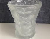 Vintage Josef Inwald Pansies Vase - Frosted Glass Pansy Vase - Frosted Crystal Vase - Large Molded Satin Glass Czech Vase