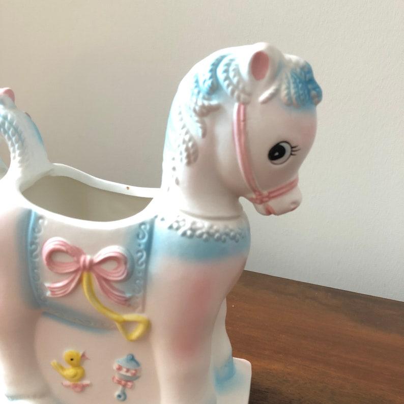 Indoor Plant Pot 5676 Napco Japan Vintage Rocking Horse Pony Planter  Vase Pink /& Blue Nursery