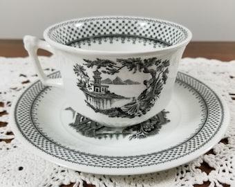Vintage Adams Real English Ironstone Micratex Black Transferware Teacup & Saucer