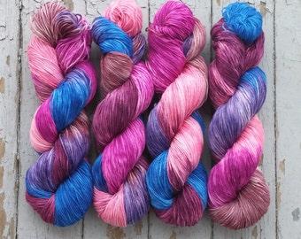 Sock Yarn, Hand Dyed, Superwash Merino Nylon Fingering Weight 100 g, Staple Sock - Blurple Berry Bonanza *In Stock
