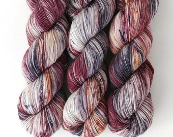 Sock Yarn, Hand Dyed, Speckled, Superwash Merino Nylon Fingering Weight 100 g, Staple Sock - Take A Deep Breath *In Stock