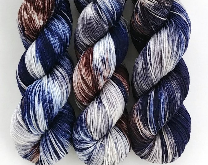 Featured listing image: Sock Yarn, Hand Dyed, Speckled, Superwash Merino Nylon Fingering Weight 100 g, Staple Sock - Beast *In Stock
