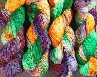 Sock Yarn, Hand Dyed, Superwash Merino Nylon Fingering Weight 100 g, Staple Sock - Jester *In Stock