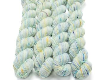 Mini Skein Sock Yarn, Hand Dyed, Speckled Sock Yarn, Superwash Merino Nylon Fingering Weight 20g, Staple Sock - Fairy Bottom Burps *In Stock