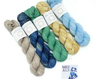 Shawlogrophy MKAL Set, 5 Skein Sock Set, Sock Yarn, Hand Dyed, Speckled, Superwash Merino, Fingering Weight 100g, Staple Sock - Ocean Breeze