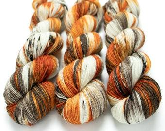 Sparkle Sock Yarn, Hand Dyed Semisolid Yarn, Superwash Merino Nylon, Fingering Weight, Pixie Sock 100 g / 438 yds - Pumpkin Latte *In Stock