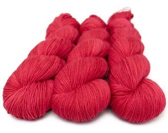 Semi Solid Sock Yarn, Hand Dyed, Superwash Merino Nylon Fingering Weight 100 g, Staple Sock  - Crimson Daze *In Stock