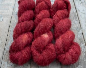 Suri Alpaca Silk Yarn, Hand Dyed, Speckled, Alpaca Silk Lace Weight, Brushed Alpaca 50 g, Alpaca Floof - Ruby Slippers *In Stock