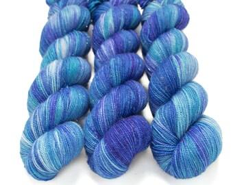 Sparkle Sock Yarn, Hand Dyed Semisolid Yarn, Superwash Merino Nylon, Fingering Weight, Pixie Sock 100 g / 438 yds - Tranquility *In Stock