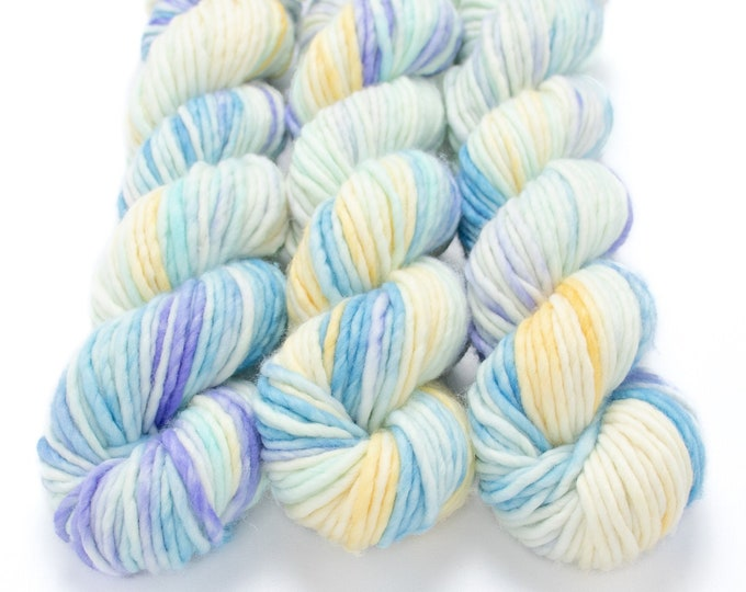 Featured listing image: Super Bulky Yarn Merino Nylon, Hand Dyed Yarn, Single Ply, Superwash Hand Dyed, Maizy Super Bulky - Opal *In Stock