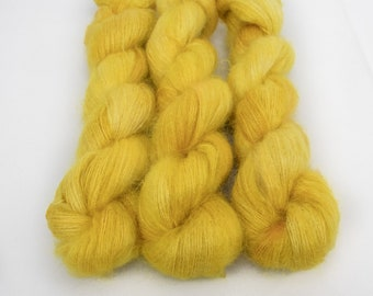 Mohair Silk Yarn, Hand Dyed, Speckled, Kid Silk Lace Weight, Brushed Mohair 50 g, Dandelion Mohair - Golden Hour