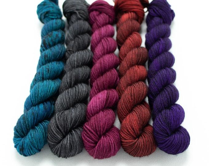 Featured listing image: Halloween Mini Skein Set, Sock Yarn, Hand Dyed, 5 - 20g Mini Skeins, Fingering Weight 100g 460 yds Staple Sock - Vampire's Den *In Stock