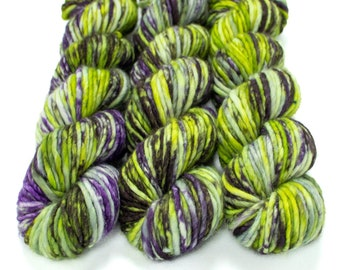 Super Bulky Yarn Merino Nylon, Hand Dyed Yarn, Speckled Yarn, Single Ply, Superwash Hand Dyed, Maizy Super Bulky - Witchy Woman *In Stock
