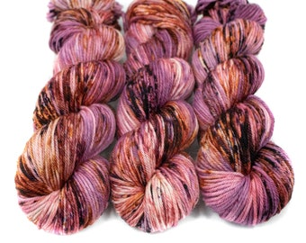 Worsted Weight Yarn, Hand Dyed, Speckled, Superwash Merino, Hand Dyed Yarn 100 g/218 yds, Worsted Yarn- Love Is a Riddle *In Stock