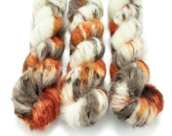 Suri Alpaca Silk Yarn, Hand Dyed, Speckled, Alpaca Silk Lace Weight, Brushed Alpaca 50 g, Alpaca Floof - Pumpkin Latte