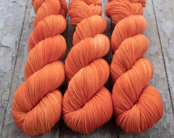 Semi Solid Sock Yarn, Hand Dyed, Superwash Merino Nylon Fingering Weight 100 g, Staple Sock  - Creamsicle *In Stock