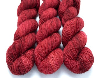 Fingering Yarn Singles Hand Dyed, Tonal, Semi Solid, Superwash Merino, Fingering Weight Hand Dyed 100g, Shire Singles - Ruby Slippers *In St