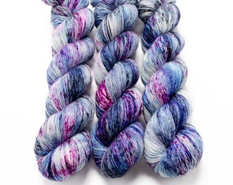 Fingering Yarn Singles Hand Dyed, Speckled, Superwash Merino, Fingering Weight Hand Dyed 100g, Shire Singles - Cosmic Stardust *In Stock