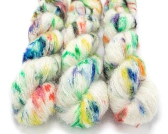Suri Alpaca Silk Yarn, Hand Dyed, Speckled, Alpaca Silk Lace Weight, Brushed Alpaca 50 g, Alpaca Floof - Pixie Dust