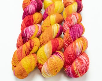 Fingering Yarn Singles Hand Dyed, Speckled, Superwash Merino, Fingering Weight Hand Dyed 100g, Shire Singles - Plumeria *In Stock