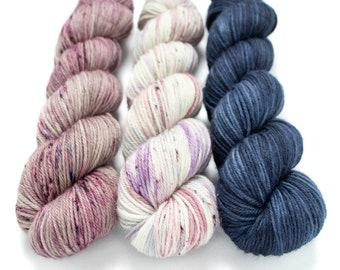 Worsted Weight Yarn Kit (3) 100g Skeins with Optional Shawl Pattern, Hand Dyed, Superwash Merino Yarn Kit - Hush, Unicorn Farts, Deep Sea