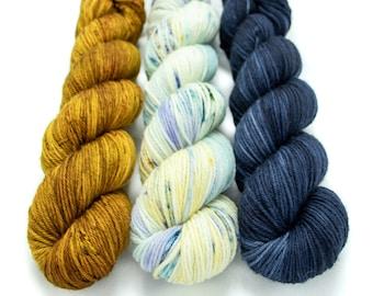 Worsted Weight Yarn Kit (3) 100g Skeins with Optional Shawl Pattern, Hand Dyed, Superwash Merino Yarn Kit - Oh Honey, Fairy Bottom, Deep Sea