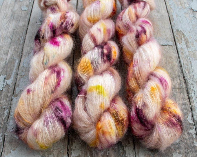 Featured listing image: Mohair Silk Yarn, Hand Dyed, Speckled, Kid Silk Lace Weight, Brushed Mohair 50 g, Dandelion Mohair - Rose Water *In Stock