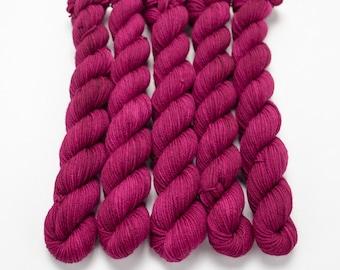 Mini Skein Sock Yarn, Hand Dyed, Semi-Solid Sock Yarn, Superwash Merino Nylon Fingering Weight 20g, Staple Sock - Feel the Beet *In Stock