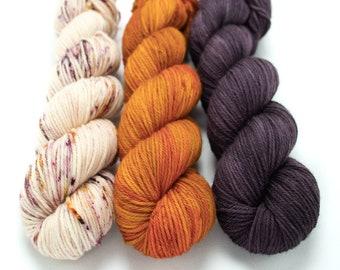 Worsted Weight Yarn Kit (3) 100g Skeins with Optional Shawl Pattern, Hand Dyed, Superwash Merino Yarn Kit - Rosewater, Ember, Aubergine