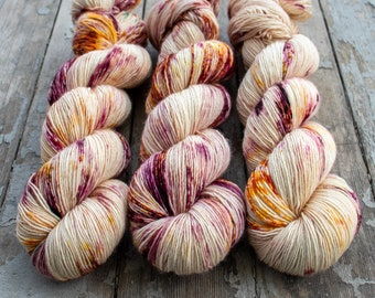Fingering Yarn Singles Hand Dyed, Semi Solid, Superwash Merino, Fingering Weight Hand Dyed 100g, Shire Singles - Rose Water *In Stock