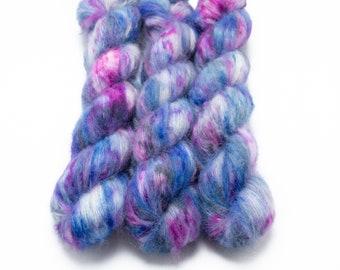 Suri Alpaca Silk Yarn, Hand Dyed, Speckled, Alpaca Silk Lace Weight, Brushed Alpaca 50 g, Alpaca Floof - Cosmic Stardust *In Stock