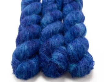 Suri Alpaca Silk Yarn, Hand Dyed, Semisolid, Alpaca Silk Lace Weight, Brushed Alpaca 50 g, Alpaca Floof - Sapphire *In Stock