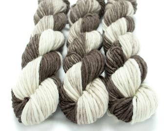 Super Bulky Yarn Merino Nylon, Hand Dyed Yarn, Single Ply, Superwash Hand Dyed, Maizy Super Bulky - I Love You a Latte *In Stock