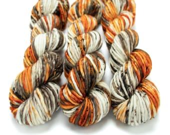 Super Bulky Yarn Merino Nylon, Hand Dyed Yarn, Speckled Yarn, Single Ply, Superwash Hand Dyed, Maizy Super Bulky - Pumpkin Latte *In Stock