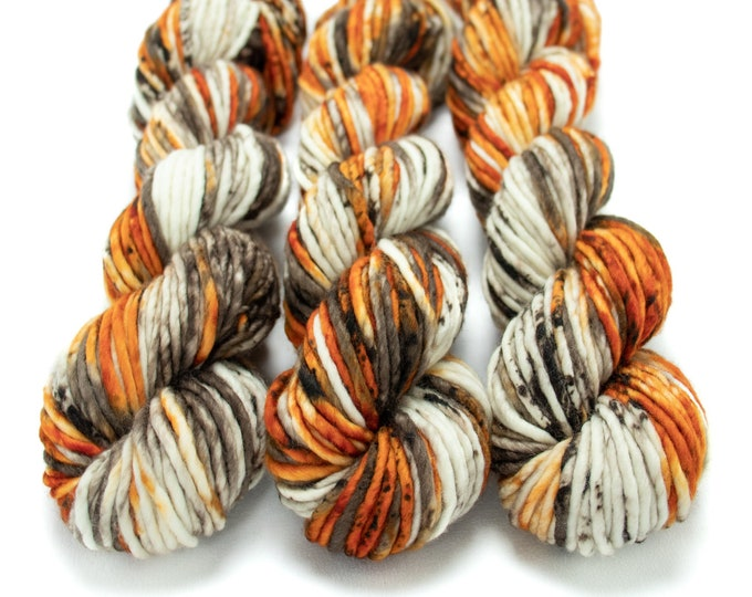 Featured listing image: Super Bulky Yarn Merino Nylon, Hand Dyed Yarn, Speckled Yarn, Single Ply, Superwash Hand Dyed, Maizy Super Bulky - Pumpkin Latte *In Stock