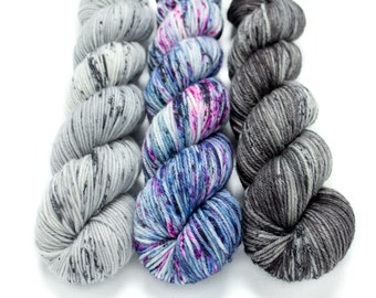 Worsted Weight Yarn Kit (3) 100g Skeins with Optional Shawl Pattern, Hand Dyed, Superwash Merino Yarn Kit - Ghost, Cosmic Stardust,Rolling S