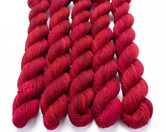 Mini Skein Sock Yarn, Hand Dyed, Semi-Solid Sock Yarn, Superwash Merino Nylon Fingering Weight 20g, Staple Sock  - Cherry Wine *In Stock